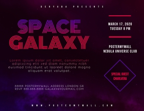 Space Galaxy Retro 80's Landscape Flyer template