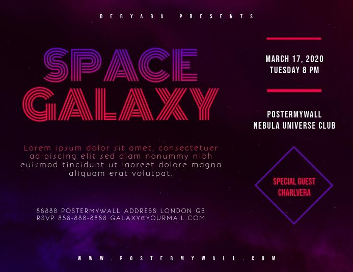 Space Galaxy Retro 80's Landscape Flyer template
