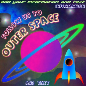 space rocket follow us to outer space - instagram post template with planet saturn