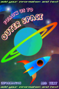 space rocket follow us to outer space - poster template with planet saturn with rings