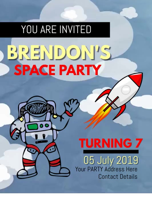 SPACE SHIP SPACESHIP PARTY FLYER TEMPLATE