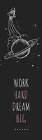 Space Sketch Black and White Bookmark Templat
