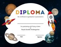 Space theme kindergarten diploma certi Flyer (format US Letter) template