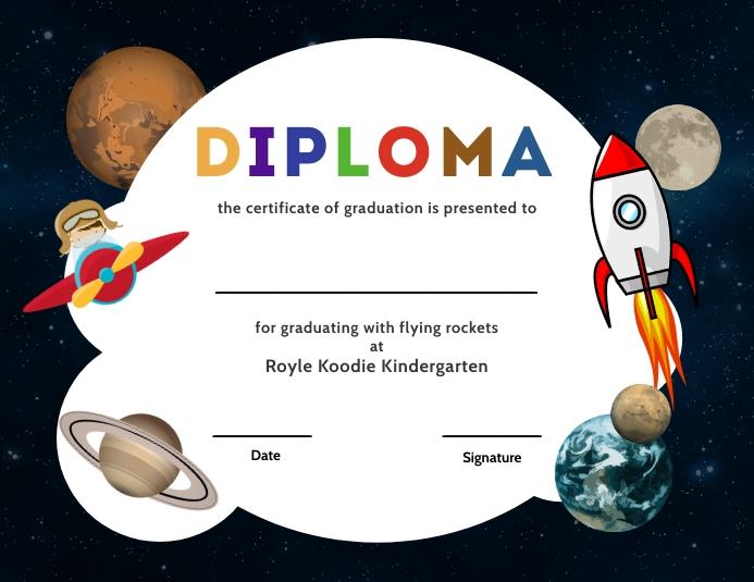 Space theme kindergarten diploma certi Рекламная листовка (US Letter) template