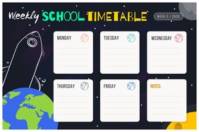 Space Themed School Timetable Poster