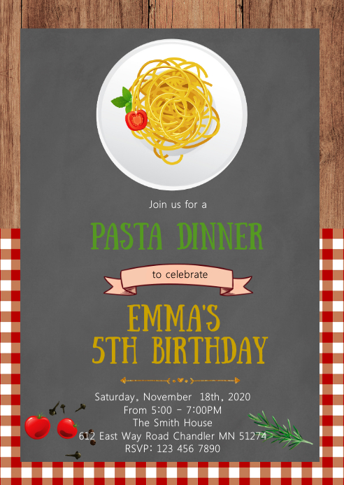 Spaghetti birthday party invitation A6 template