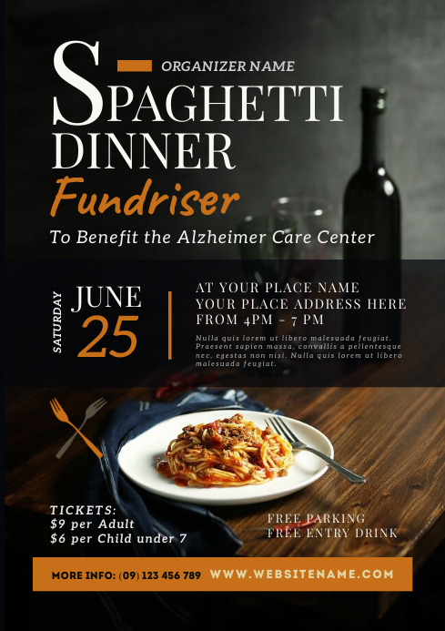 Spaghetti Dinner Fundraiser Flyer