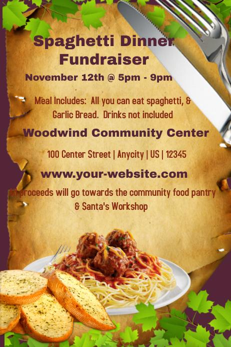spaghetti dinner fundraiser template