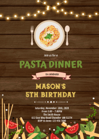 Spaghetti Dinner Invitation A6 template