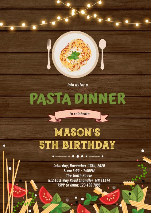 Spaghetti Dinner Invitation A6 template
