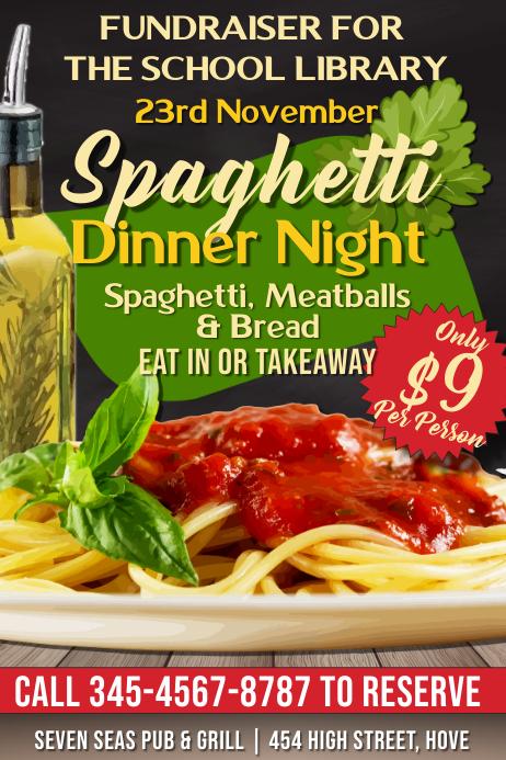 Spaghetti Dinner Night Fundraiser Flyer Template Póster