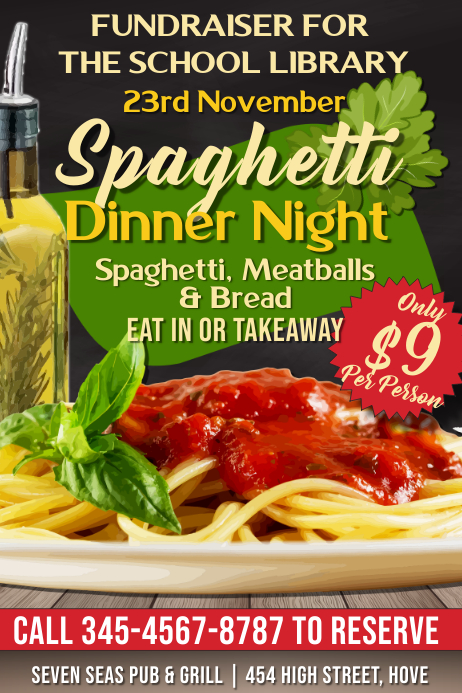 Spaghetti Dinner Night Fundraiser Flyer Template