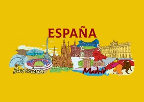 Spain Post card Postcard template