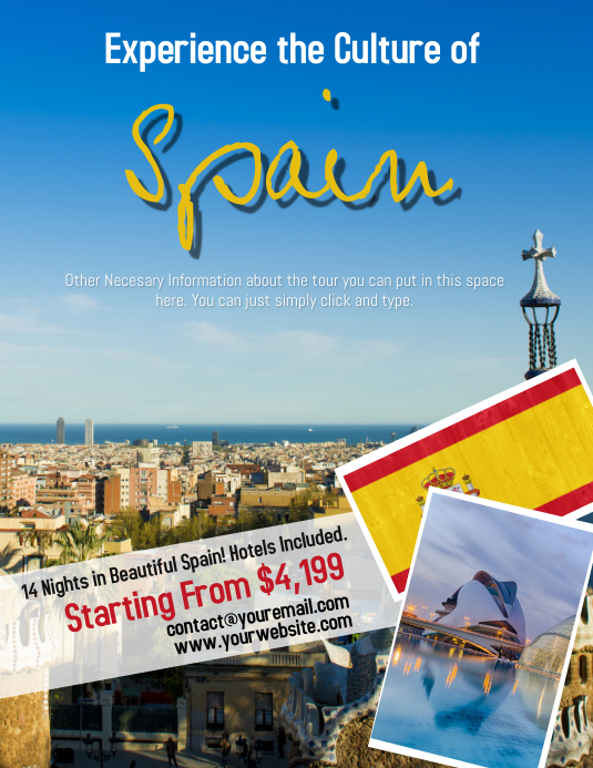 Spain Spanish Tour Travel Flyer Template