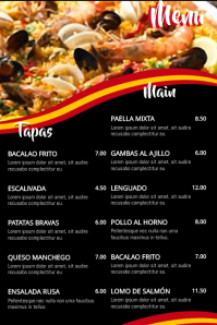 Spanish Food Menu Poster Template