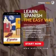 spanish online language lessons advertising i Publicación de Instagram template