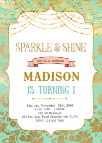 Sparkle and shine theme invitation