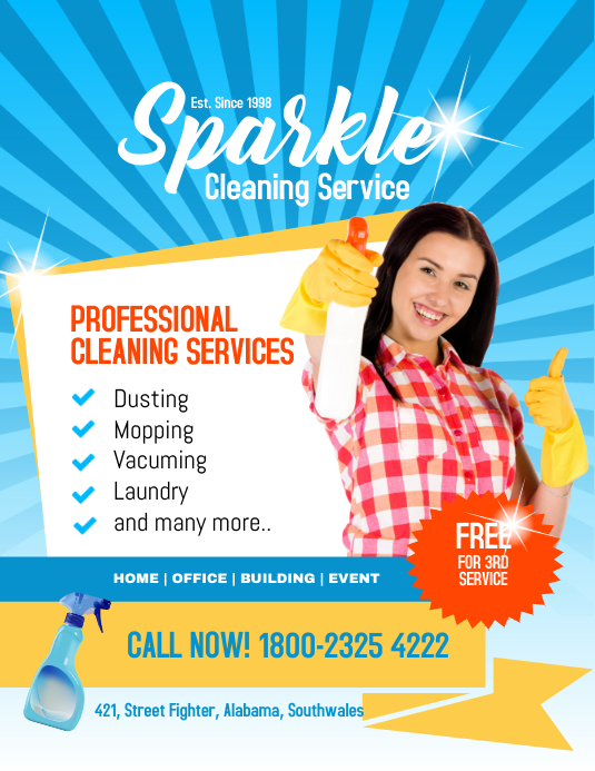 Sparkle Cleaning Service 传单(美国信函) template