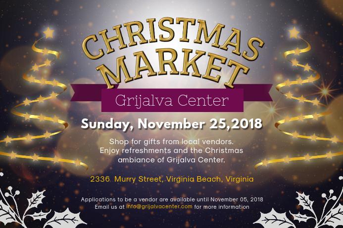 Sparkling Christmas Market Landscape Poster Art