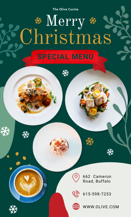 Special Christmas Restaurant Menu Template US na Legal