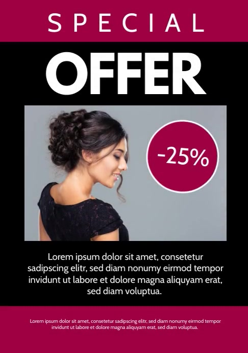 Special Offer Template Hair Salon Beauty Ad A4