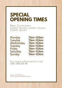 Special Opening Times Corona Virus Covid19