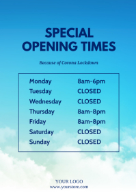 special Opening Times Flyer Corona Prevention