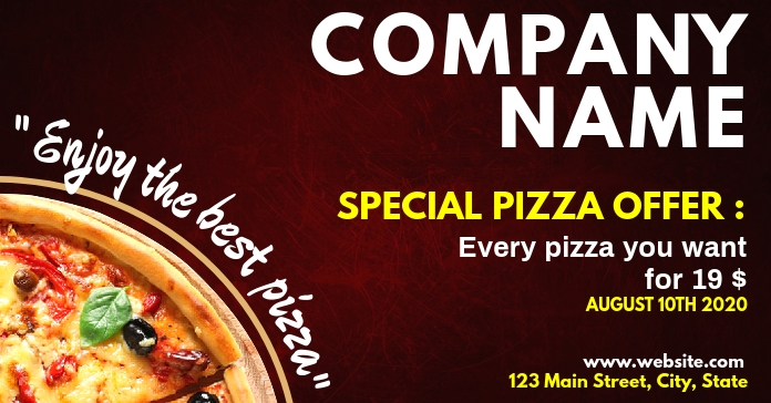 special pizza offer facebook advertisement Facebook-annonce template