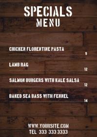 Specials Restaurant menu table a4 Dark Wood template
