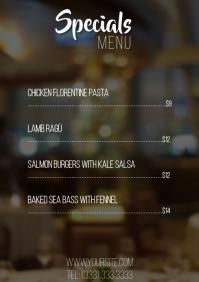 Specials Restaurant menu table a4 template