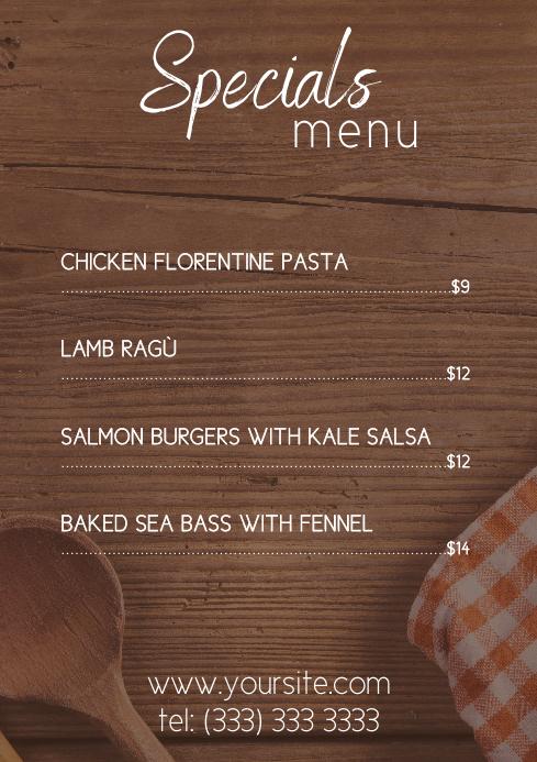 Specials Restaurant menu table a4 printable template