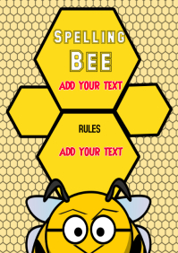 Spelling Bee, Blank School Template Paster Flyer