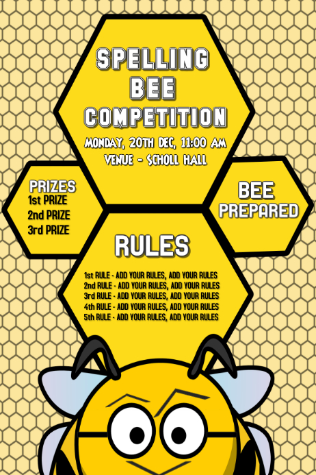 Spelling Bee Competition, School Poster,