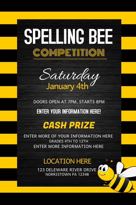 spelling bee competition  event flyers template