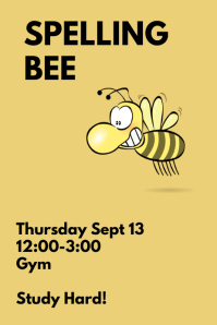 Customizable design templates for spelling bee contest for Spelling bee invitation template