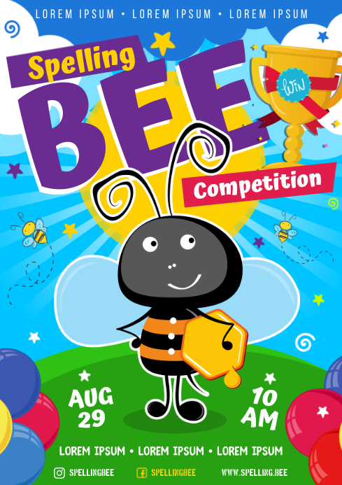 SPELLING BEE POSTER A4 template