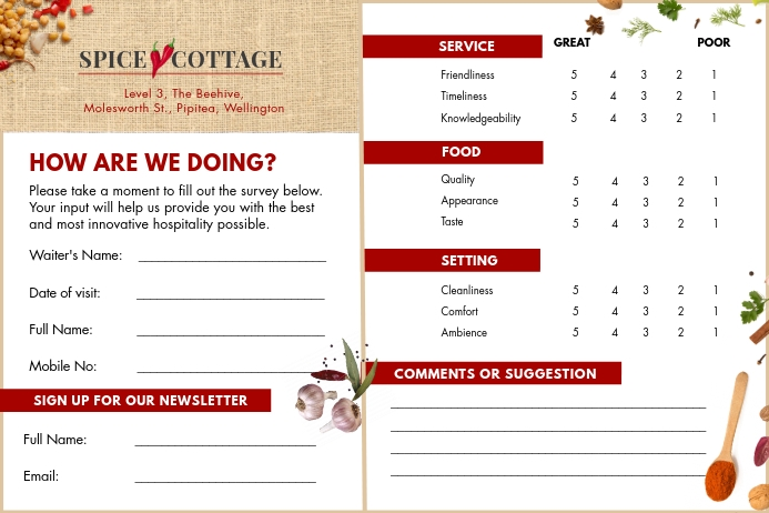 Spice cottage restaurant comment card Tatak template