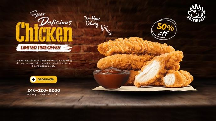 Chicken Finger Ads Vídeo de portada de Facebook (16:9) template