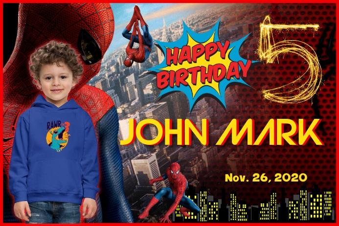 Spider Man Birthday แบนเนอร์ 4' × 6' template