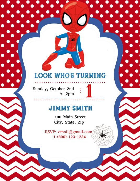 Spider-Man Birthday Flyer (US Letter) template