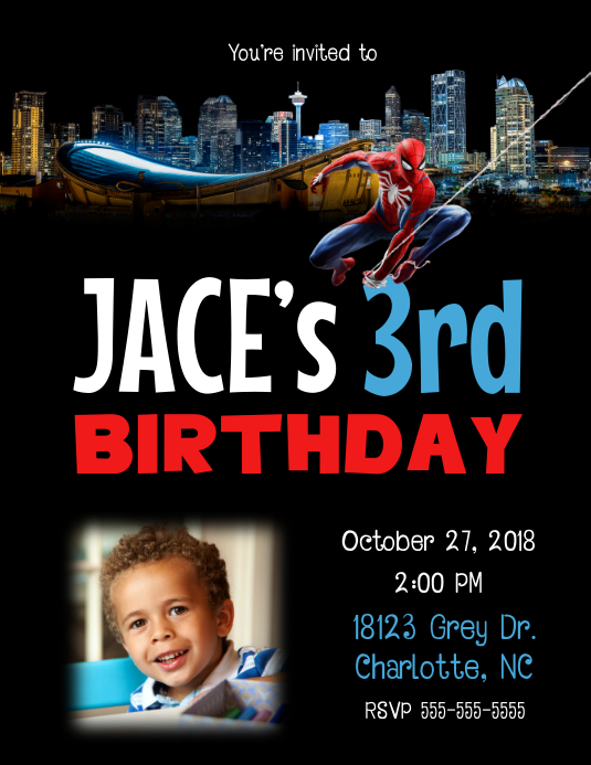 Spider Man Birthday Invitation Customize Template
