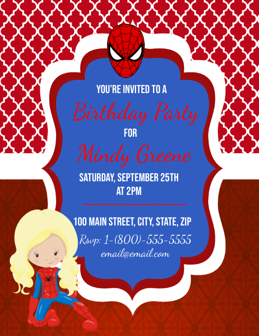 Spider-Man Birthday Party Flyer (US Letter) template