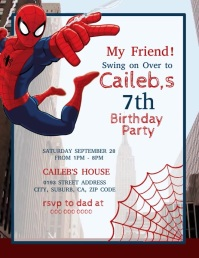 Spider-Man Birthday Party Flyer (US-Letter) template