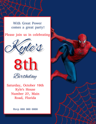 Spider man Birthday Party Invitation Template