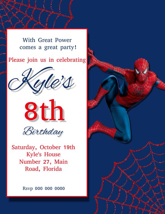Spider man Birthday Party Invitation Template Flyer (US Letter)