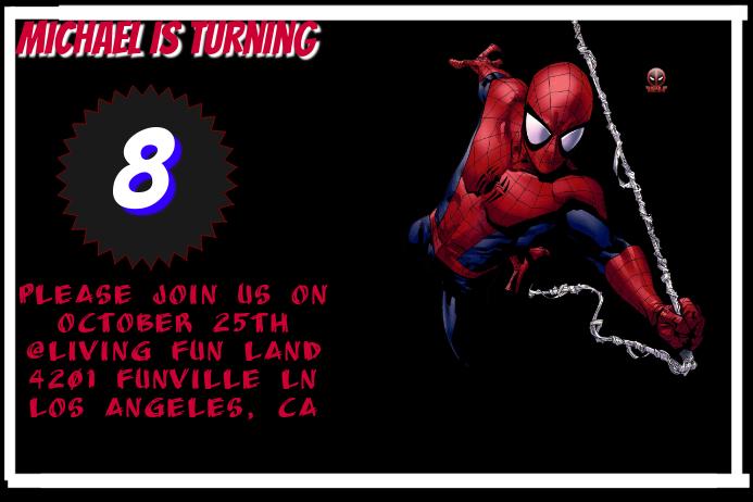Spider Man Invitation Customize Template
