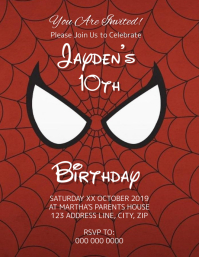 Spider-Man Kids Birthday Invitation Template Pamflet (Letter AS)