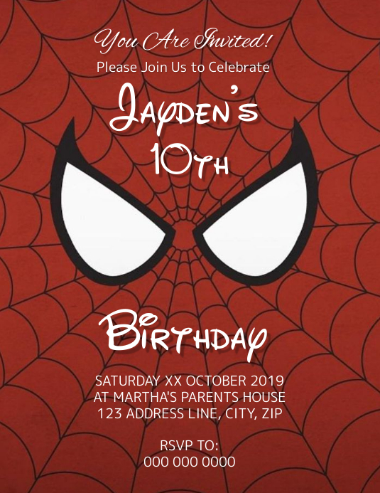 Spider-Man Kids Birthday Invitation Template Flyer (US Letter)