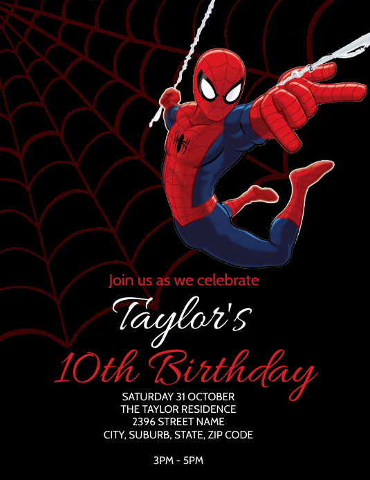 Spider Man Party Invitation Template Flyer (format US Letter)