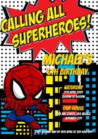 Spiderman Birthday Invitation A4 template
